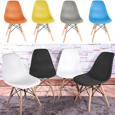 Retro Wooden Legs Plastic Dining Chairs Eiffel Dining Chair Garden Lounge Chair