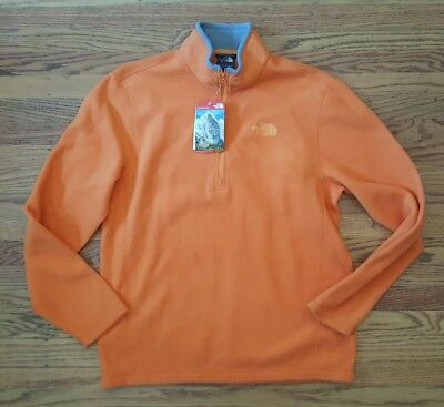 New The North Face Mens TKA 100 Glacier fleece pullover Orange size Medium nwt