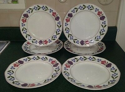 "6 Adams OLD COLONIAL Ironstone - England - 10-1/4""  Dinner Plates"