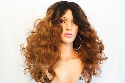 Synthetic Curly Heat Resistant Brown Auburn Ombre Wig 18""