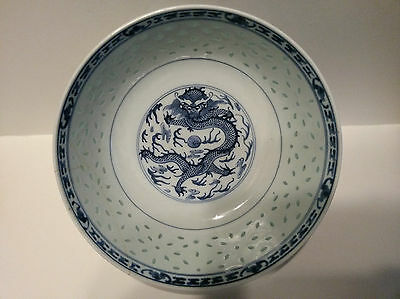 Chinese Export Blue & White Dragon Rice Grain Bowl Hand Painted -19C Export