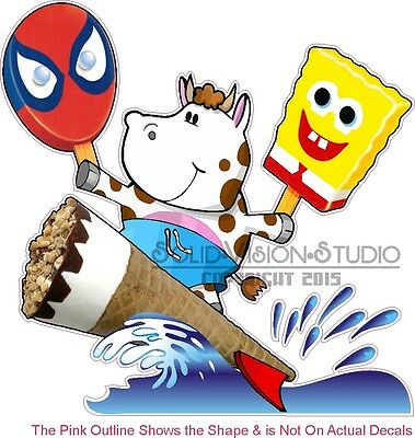 """14"""" Ice Cream Sponge Bob Cow Surfing Nutty Bar Concession Truck Vinyl Sign Decal"""