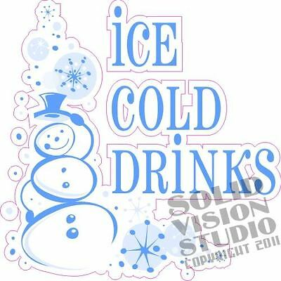 """14"""" Ice Cold Drinks Water Fun Concession Trailer Bar Restaurant Vinyl Sign Decal"""