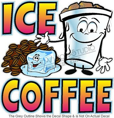 "7"" Ice Coffee Concession Trailer Restaurant Sign Decal"