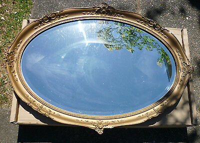 Large Vintage Ornate French Style Gold Gesso Oval Bevelled Edge Mirror 86 x 62cm