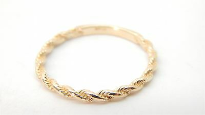 14k Solid Gold Rope Band Ring Size 6 1/2