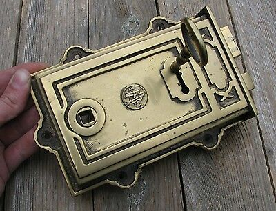 Reclaimed Solid Brass Rim Door Lock  - WITH KEY / RIGHT OR LEFT HANDED