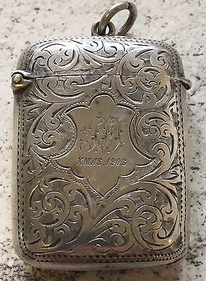 Hallmarked Silver Vesta Case Xmas 1903 Inscription Antique Maker SML Birmingham