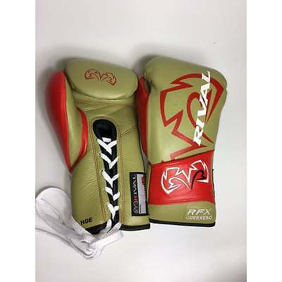Rival Boxing RFX-Guerrero Lace Up Pro Boxing Gloves - Matte Gold Red