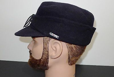 Wigens Of Sweden Pure Wool Navy Blue Cap Hat With  Ear Flaps - 55  Xs