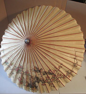 Japanese Vintage Bamboo & Rice Paper Umbrella China Guilin Bird Cherry Blossom