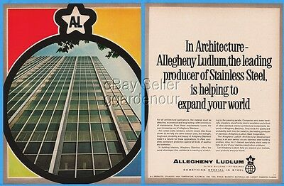 1963 Allegheny Ludlum AL Stainless Steel Skyscraper Architecture Photo Print Ad