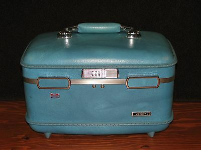Blue American Tourister ESCORT Train Make Up Case Luggage w/ Tray & Mirror GC