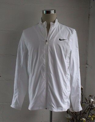 Nike Dri Fit Tennis Tracksuit Top with Full Zip in White L