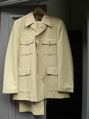 Beige/ Sand Polyester FLARED safari suit 1970s chest 40 W36 L32 vintage CLEANED