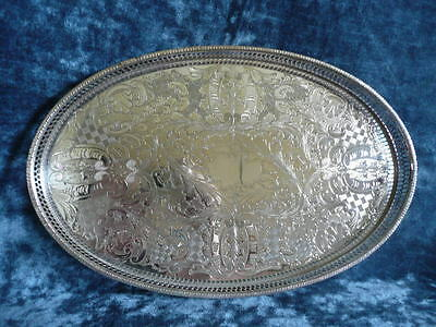 Viners Sheffield Silver Plated Chased Oval Gallery Tray 15 inches.