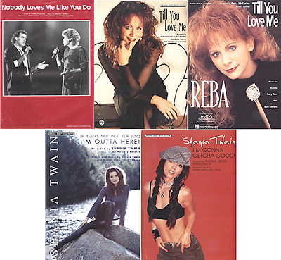 Lot of 5 FEMALE COUNTRY artists sheet music - REBA, SHANIA TWAIN, ANNE MURRAY