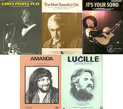 Lot of 5 MALE COUNTRY artists sheet music - WAYLON, GARTH, KENNY, CHARLIE, SOUTH