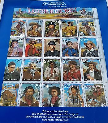 Legends of the West Error Stamp Sheet 90's Mint Condition