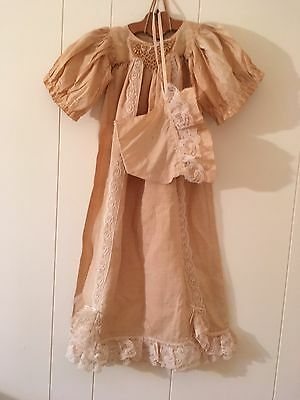 Antique Ivory Baby Dress With Matching Bonnet