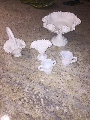 White Milk Glass Hobnail Lot Of 5 Pc Fenton Pedestal Dish Basket  Vase