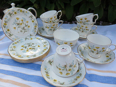Vintage Colclough Angela Tea Cup Set - Side Plates - Sugar Bowl  Floral Daisy