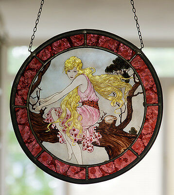 Fairy Tree stained glass, fairy suncatcher, kilnfired glasspainting, blond girl