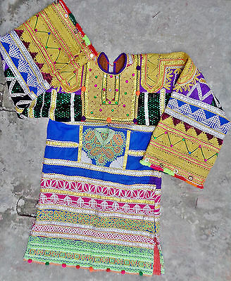 Kuchi Vintage Ethnic Afghan Belly Dance RABARI Tunic Shirt Dress Hippie Costume