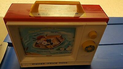 Fisher Price Giant Screen Music Box Tv 2 Tune Picture Story Kids Toy