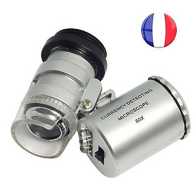 MICROSCOPE DE POCHE A LED ZOOM x60 LED + UV OR ARGENT JOAILLERIE BILLET LOUPE