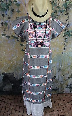 Multi-Color Amuzgo Huipil Dress Hand woven Mexican Cowgirl Hippie Santa Fe Boho