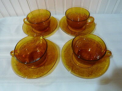 Anchor Hocking Amber Sandwich Glass Cups & Saucers  Set Of 4 Vintage