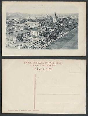 Singapore Old Postcard Tennis Courts Street Scene St Andrew's Cathedral Panorama