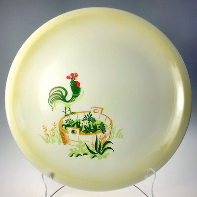 Paden City Pottery Provincial Dinner Plate Set of 3 Rooster on Tub Mid Century