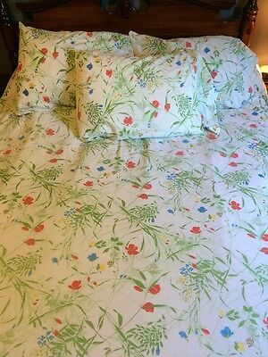 Texmade 5pc Double Size Bed Sheet Fitted Flat 3 Pillowcases Red Blue Flowers