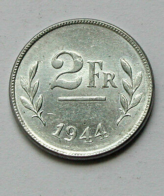 1944 BELGIUM Coin - 2 Francs - AU++ toned-lustre - WWII allied-occupation issue