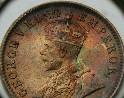 1912 INDIA 1/4 Anna Coin - UNC lustre/colorful toning - long die cracks variety