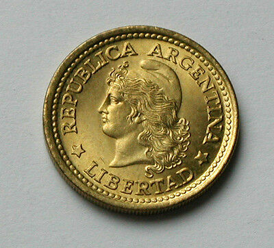1970 ARGENTINA 50 Centavos Coin - UNC toned-lustre - capped Liberty head - 20mm