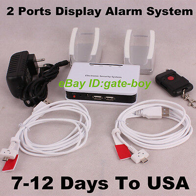2Ports Cell Mobile Phone Security Display Alarm System for iPhone Anti-theft