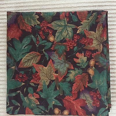 """Longaberger 36"""" inch square fabric tablecloth Autumn Falling Leaves Fabric"""