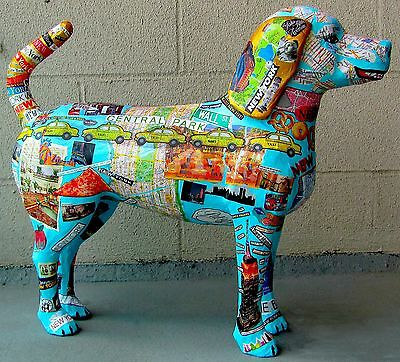 New York City Dog Sculpture Papier Mache Mixed Media Collage