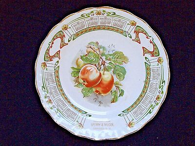 1912 Sperry & Wilcox OXFORD NY McNicol Carnation Adv CALENDAR PLATE WWI Apples