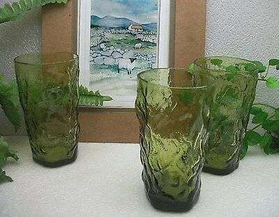 3  Seneca Glass DRIFTWOOD  CASUAL  Green  16 oz Beverage Tumbler Glasses