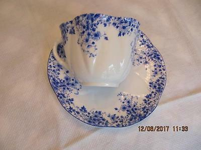 Shelley  Dainty Blue Tea Cup and Saucer Bone china Green mark