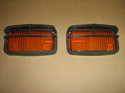 Vintage JF Automobile Rally Driving Fog Light Lenses And Covers Orange Amber