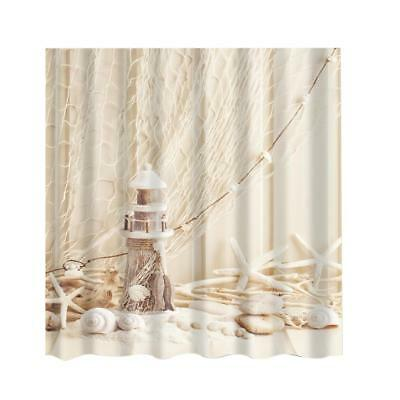 Shower Curtain Bathroom Water Resistant Polyester Fabric Drapes Lighthouse