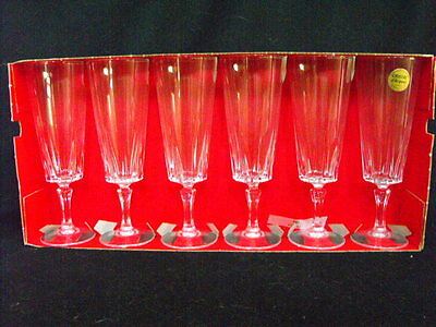 Vintage Cristal D'arques Versailles 24% Lead Crystal Champagne Flutes New in Box
