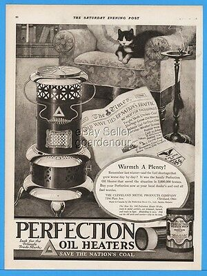 1918 Perfection Oil Heater Cleveland Metal Products Cat On Chair Warmth Ad