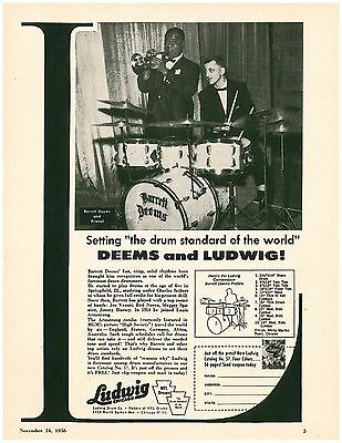 Vintage 1956 Ludwig Barrett Deems Louis Armstrong Page ad
