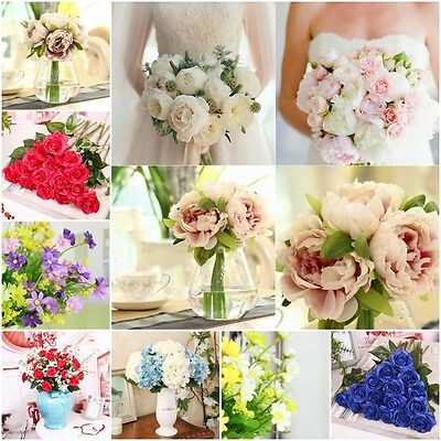 Home Wedding Party Decor 1 Bouquet 5 Head Fake Peony Artificial Silk Flower Leaf